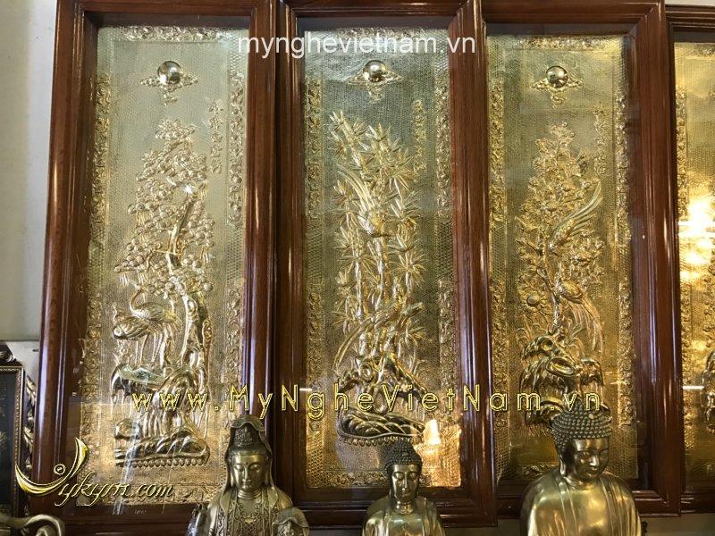 Tranh tứ quý bằng đồng nguyên bản 40x1m