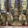 bộ đỉnh đồng thờ cúng gia đình cao 60cm song long chầu nguyệt
