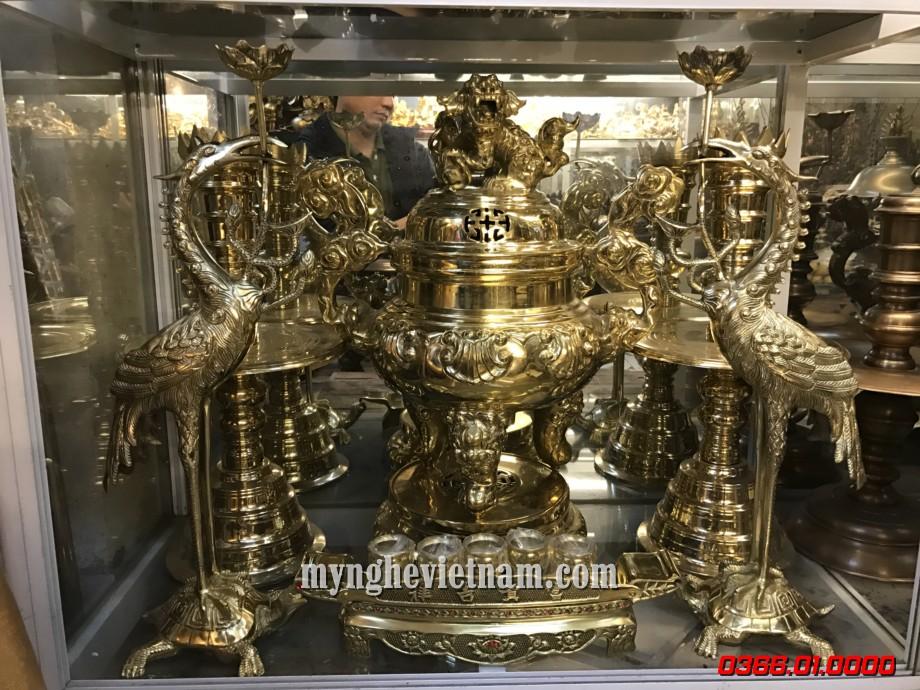 Đỉnh đồng thờ cúng gia truyền cao 60cm cho bàn thờ 1m97