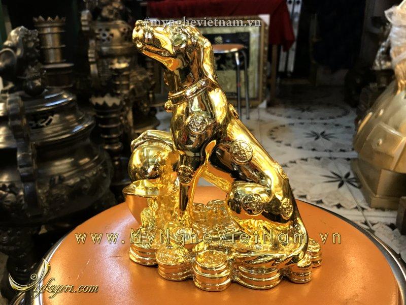 Tượng chó đồng mạ vàng cao 20cm0
