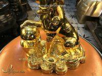 tượng chó đồng mạ vàng cao 20cm