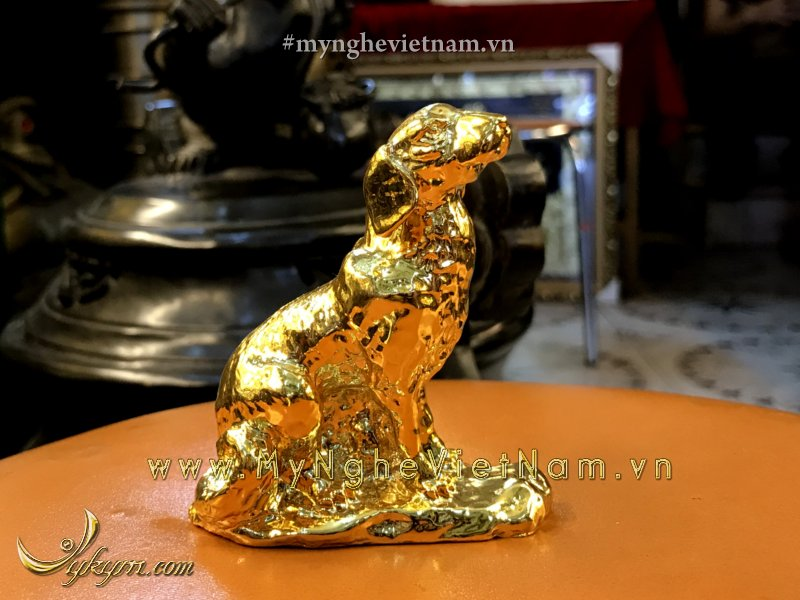 Tượng chó đồng mạ vàng cao cấp 7cm0