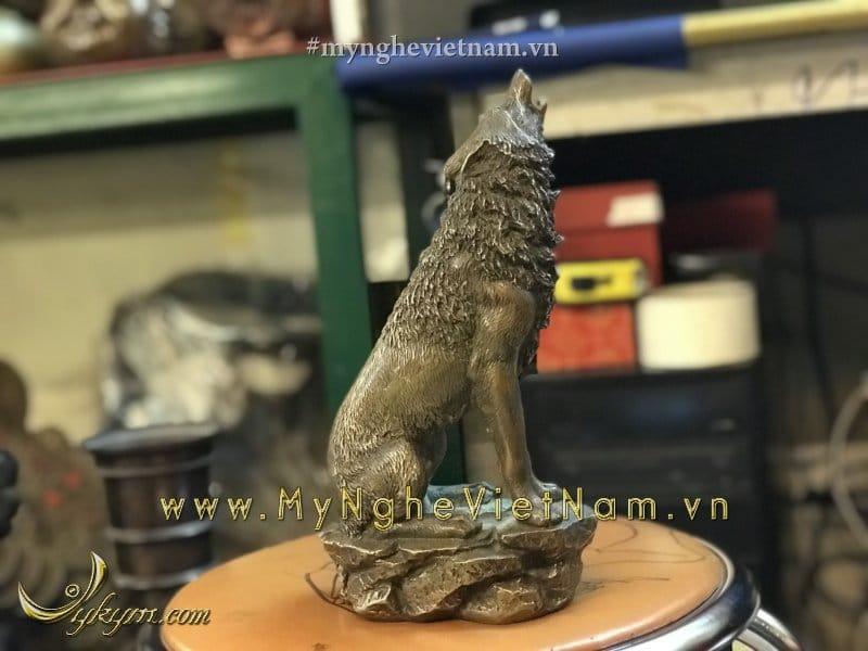 Tượng chó đồng hú cao 25cm