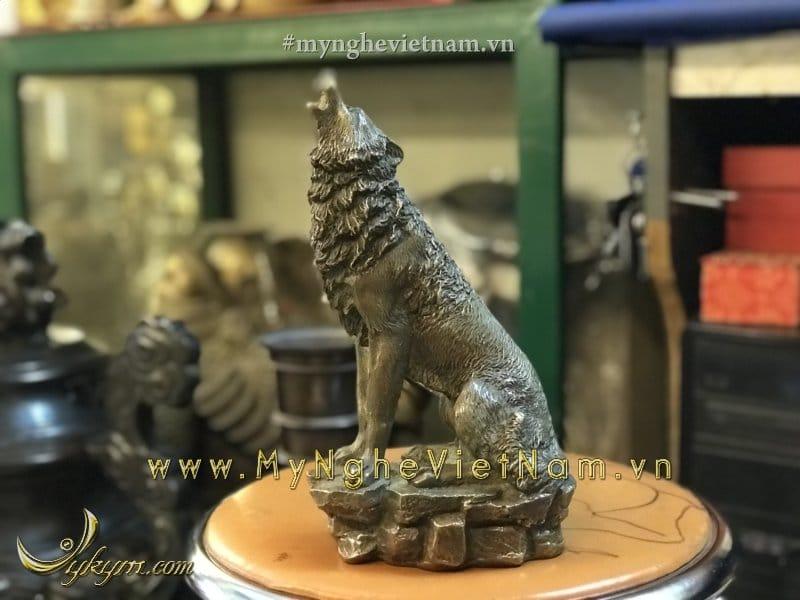 Tượng chó đồng hú cao 23cm0
