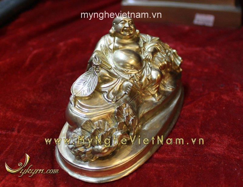 Tượng phật di lặc dài 15cm bằng đồng vàng