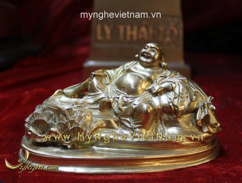 Tượng phật di lặc dài 15cm bằng đồng vàng0