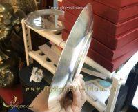 đĩa chạm bạc nguyên chất, khắc cảnh nhà xưởng sản xuất bằng laser