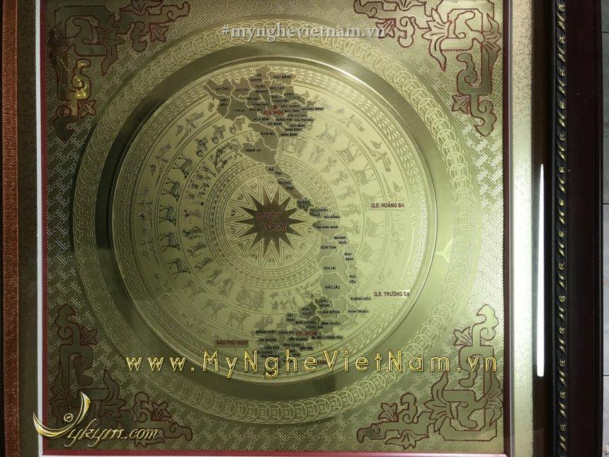 tranh mặt trống đồng bản đồ nguyên tấm cao cấp.