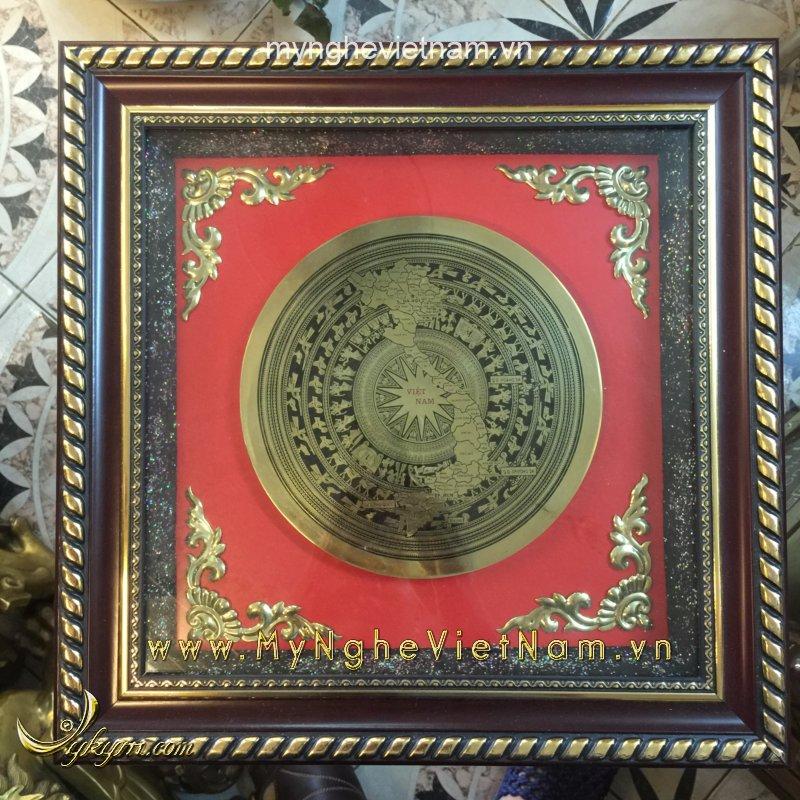 Tranh mặt trống đồng ăn mòn 36cm quà tặng văn hóa Việt Nam0