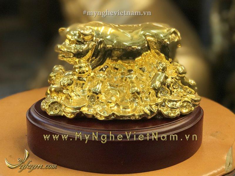 tượng lợn đàn mạ vàng nano cao cấp