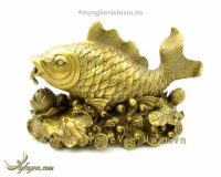 cá chép hoa sen nhả ngọc bằng đồng