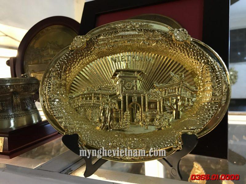Đĩa lưu niệm Chợ Bến Thành mạ vàng cao cấp