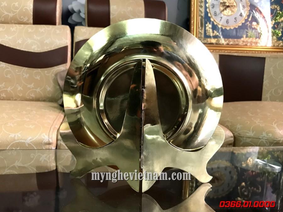 đĩa quà tặng chùa 1 cột bằng đồng đk 18cm