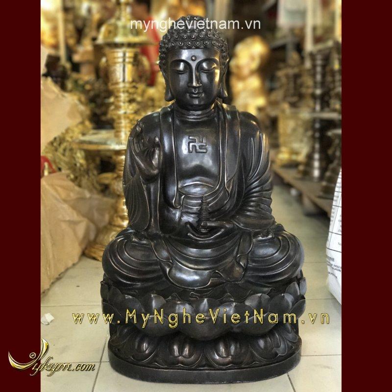 tượng phật a di đà bằng đồng hun giả cổ 60cm