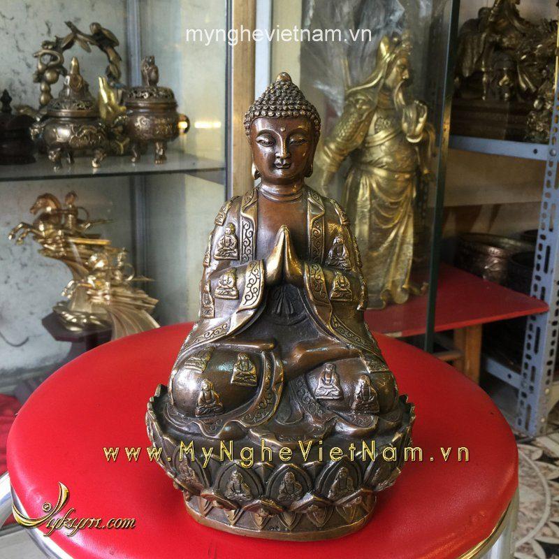 tượng phật tổ bằng đồng cao 22cm