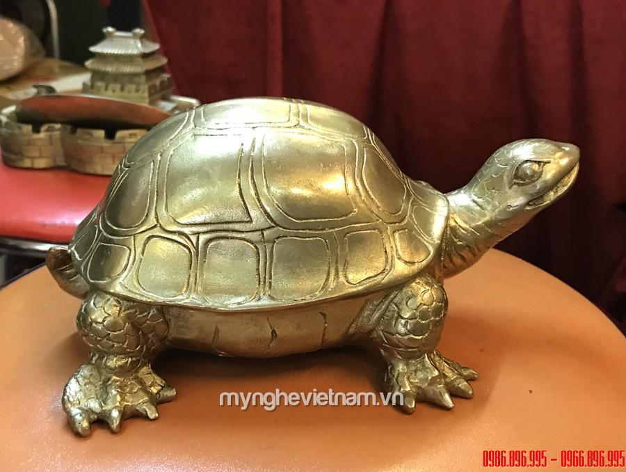 Tượng rùa đồng dài 20cm linh vật phong thủy0