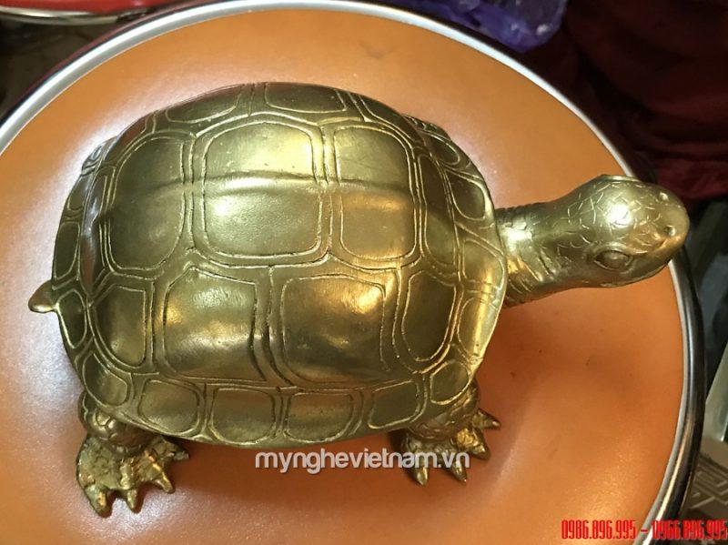 Tượng rùa đồng dài 20cm linh vật phong thủy