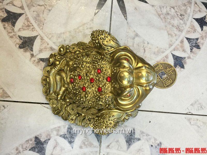 Thiềm thừ đồng ngậm tiền đúc bằng đồng vàng nguyên chất