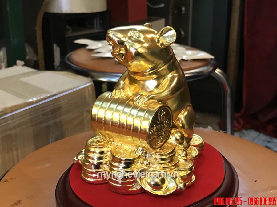 Tượng chuột để bàn làm quà tặng phong thủy cao cấp 12cm, tượng chuột mạ vàng dát vàng