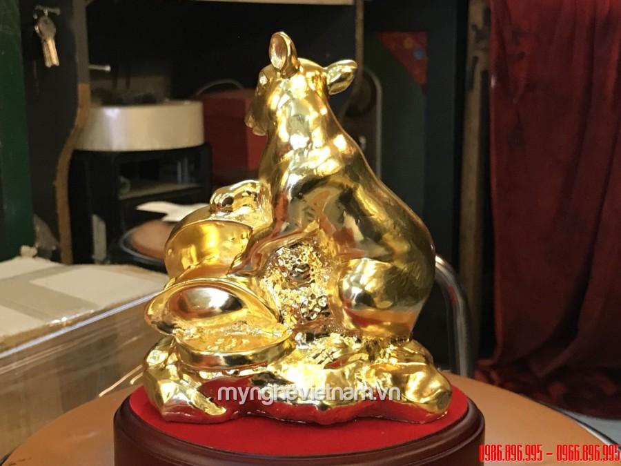 Tượng chuột đồng dùng trong phong thủy ôm tiền mạ vàng cao 15cm