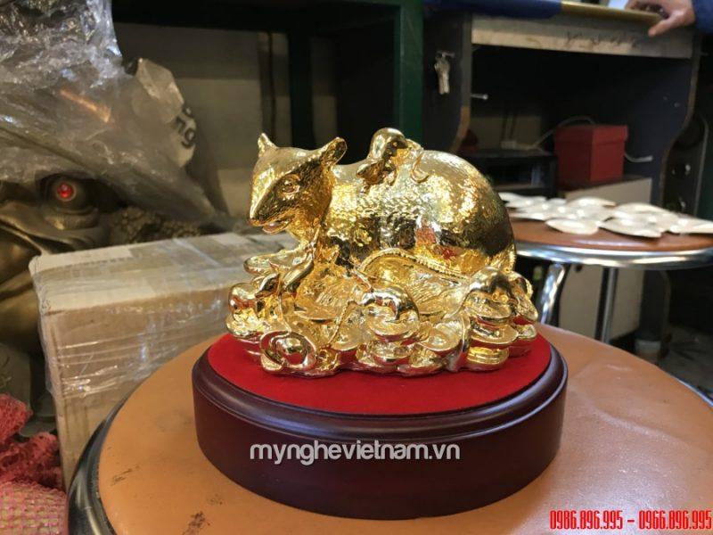 Tượng chuột mẹ con bằng đồng dát vàng cao cấp