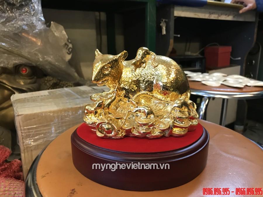 Tượng chuột mẹ con bằng đồng dát vàng cao cấp0