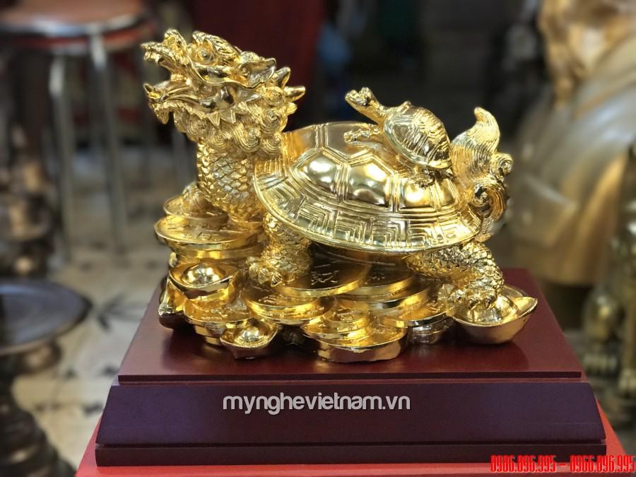 Tượng long quy phong thủy rùa đầu rồng dài 25cm dát vàng0