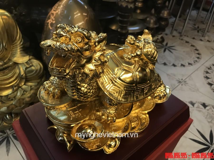 Tượng long quy phong thủy rùa đầu rồng dài 25cm mạ vàng nano