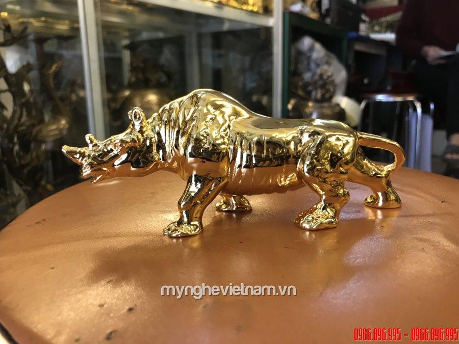 Tượng tê giác đồng mạ vàng 24k cao cấp0