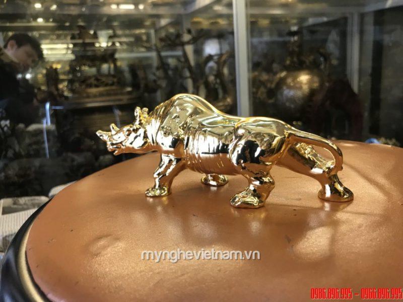 Tượng tê giác đồng mạ vàng 24k cao cấp quà tặng đối ngoại