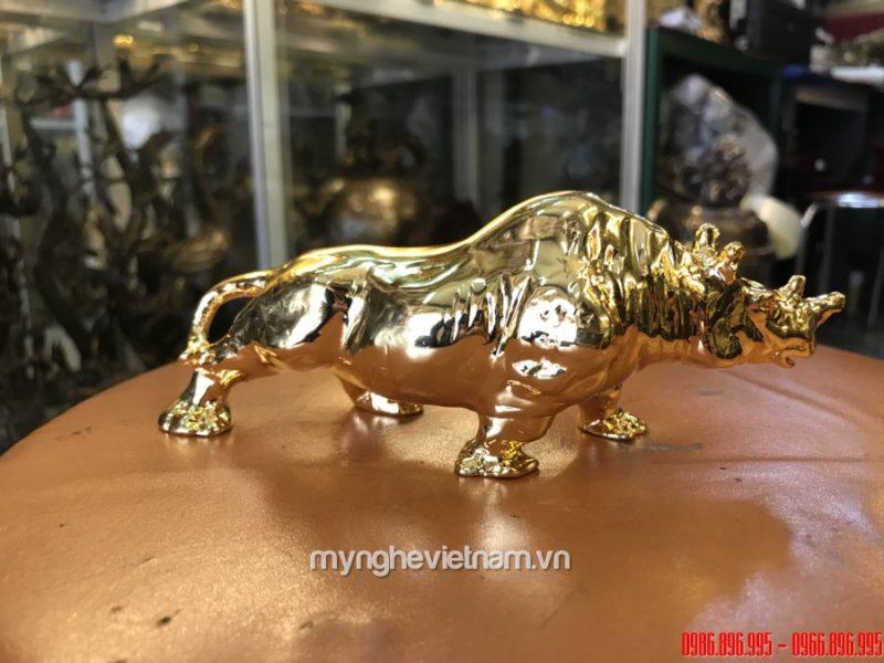 Tượng tê giác đồng mạ vàng 24k cao cấp