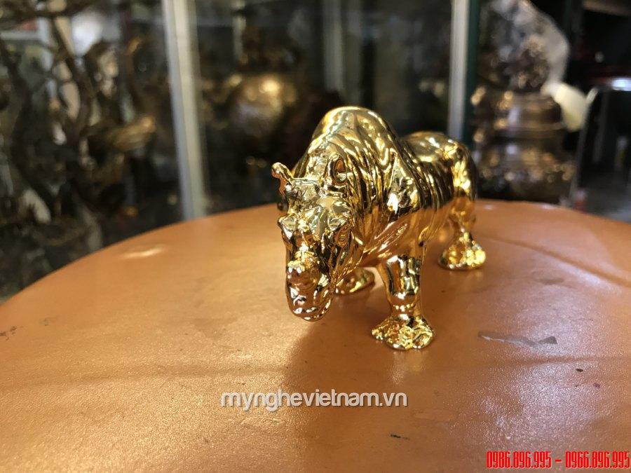 Tượng tê giác đồng mạ vàng 24k cao cấp để bàn