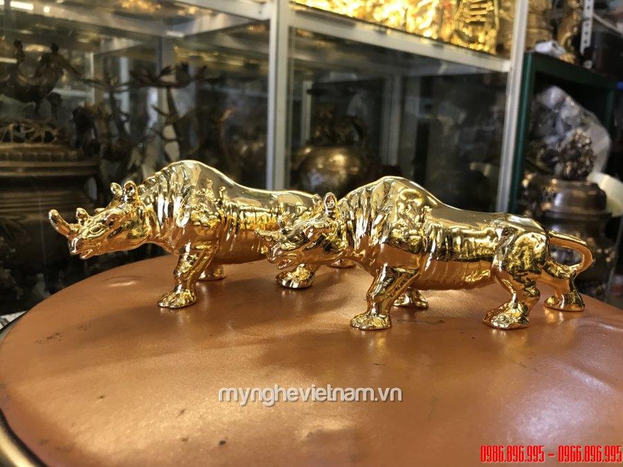 Tượng tê giác đồng mạ vàng 24k cao cấp bày bàn làm việc