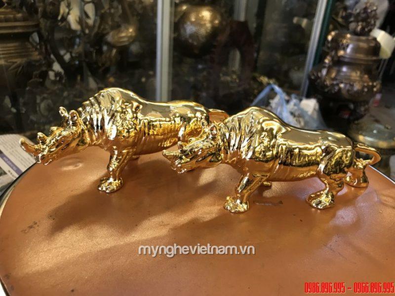Tượng tê giác đồng mạ vàng 24k cao cấp làm quà tặng