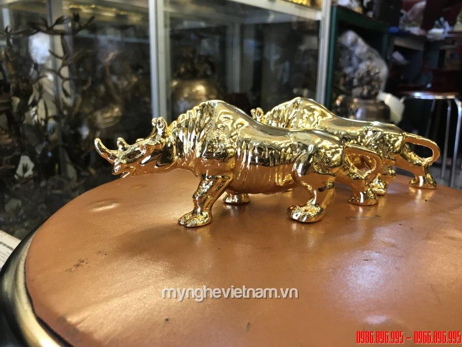Tượng tê giác đồng mạ vàng 24k cao cấp đài 18cm