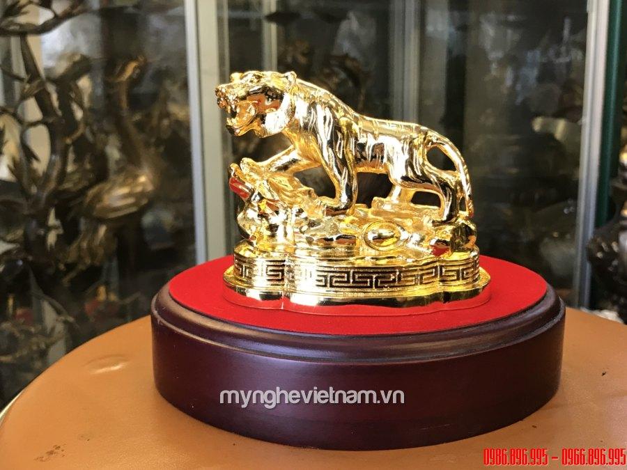 Tượng hổ đồng mạ vàng 24k dài 12cm0