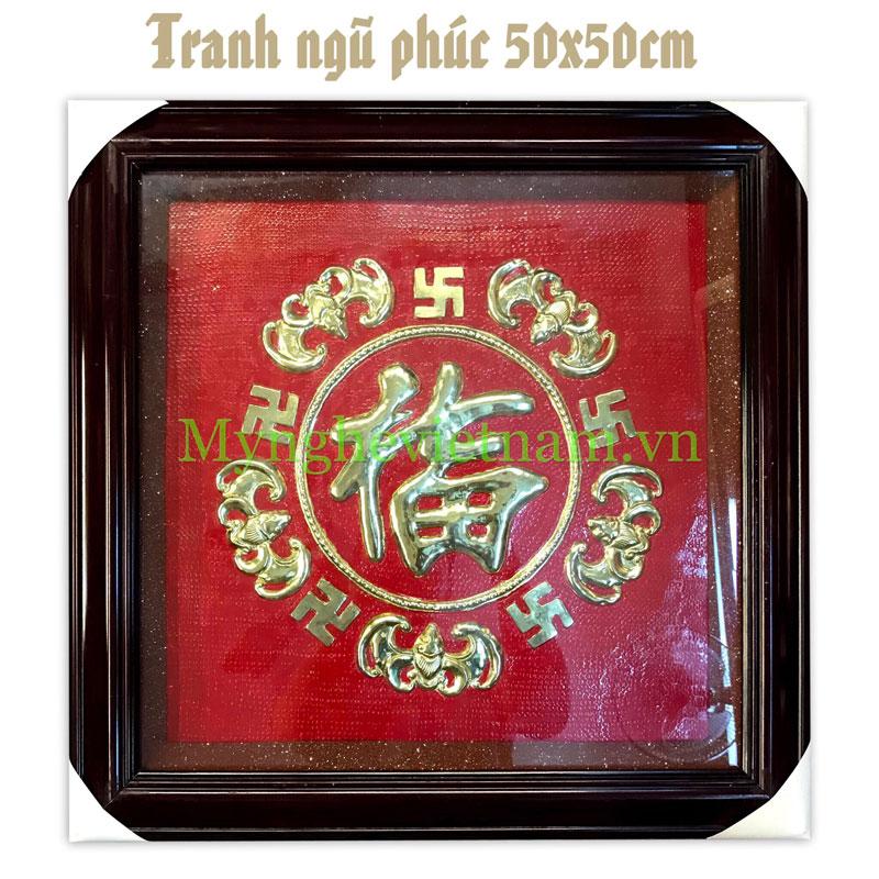 Tranh ngũ phúc dơi và chữ vạn phong thủy bằng đồng 50cm0