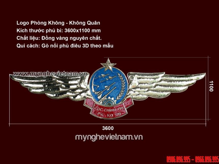 logo huy hiệu phòng không không quân cánh én bằng đồng