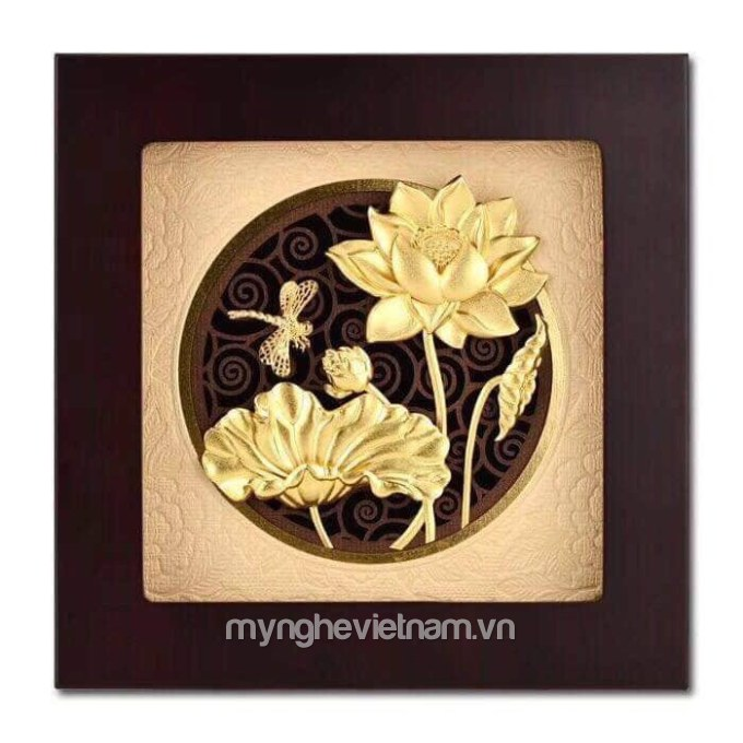 Tranh hoa sen dát vàng 24k cao cấp kt 22x22cm0
