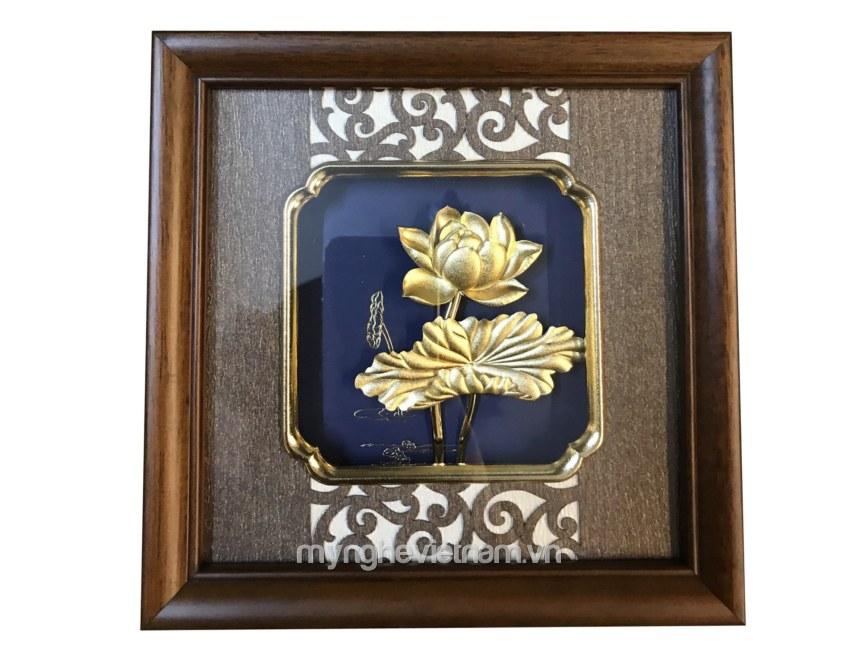 Tranh hoa sen quà tặng 20x20cm dát vàng 24k cao cấp0