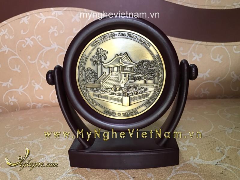 Biểu trưng đĩa xoay chùa 1 cột làm quà tặng văn hóa đk 12cm0
