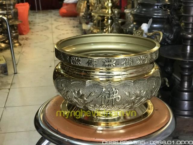 bát hương đồng hoa sen chữ Phật mặt rồng chầu nguyệt 20cm