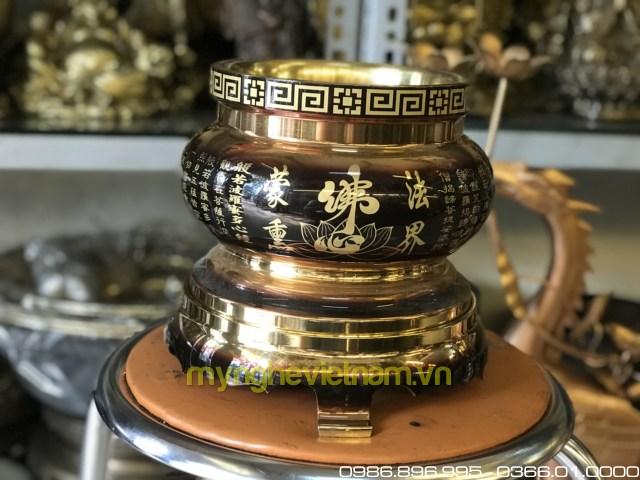Bát hương đồng chữ Phật và bát nhã tâm kinh 20cm0