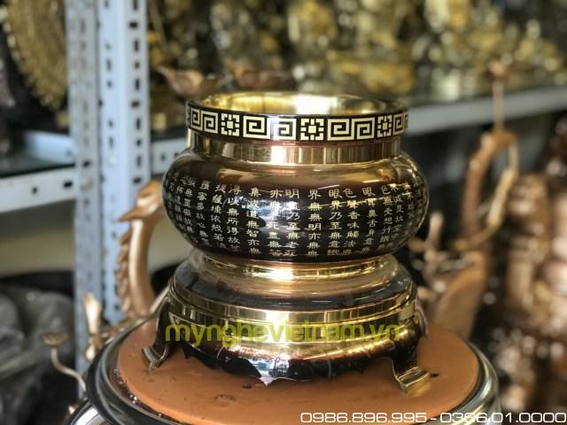 Bát hương đồng chữ Phật và bát nhã tâm kinh 20cm