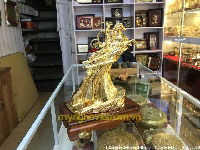 tượng thánh gióng cao 35cm mạ vàng nano