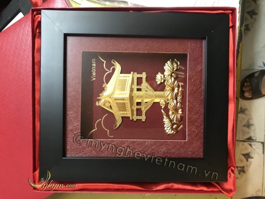 Tranh dát vàng quà tặng chùa một cột 26 x 30cm0