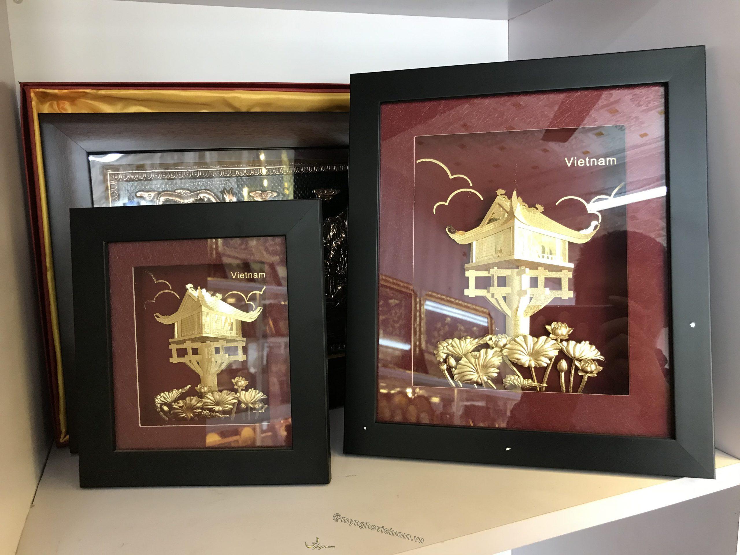 Tranh quà tặng chùa một cột mạ vàng 24k0