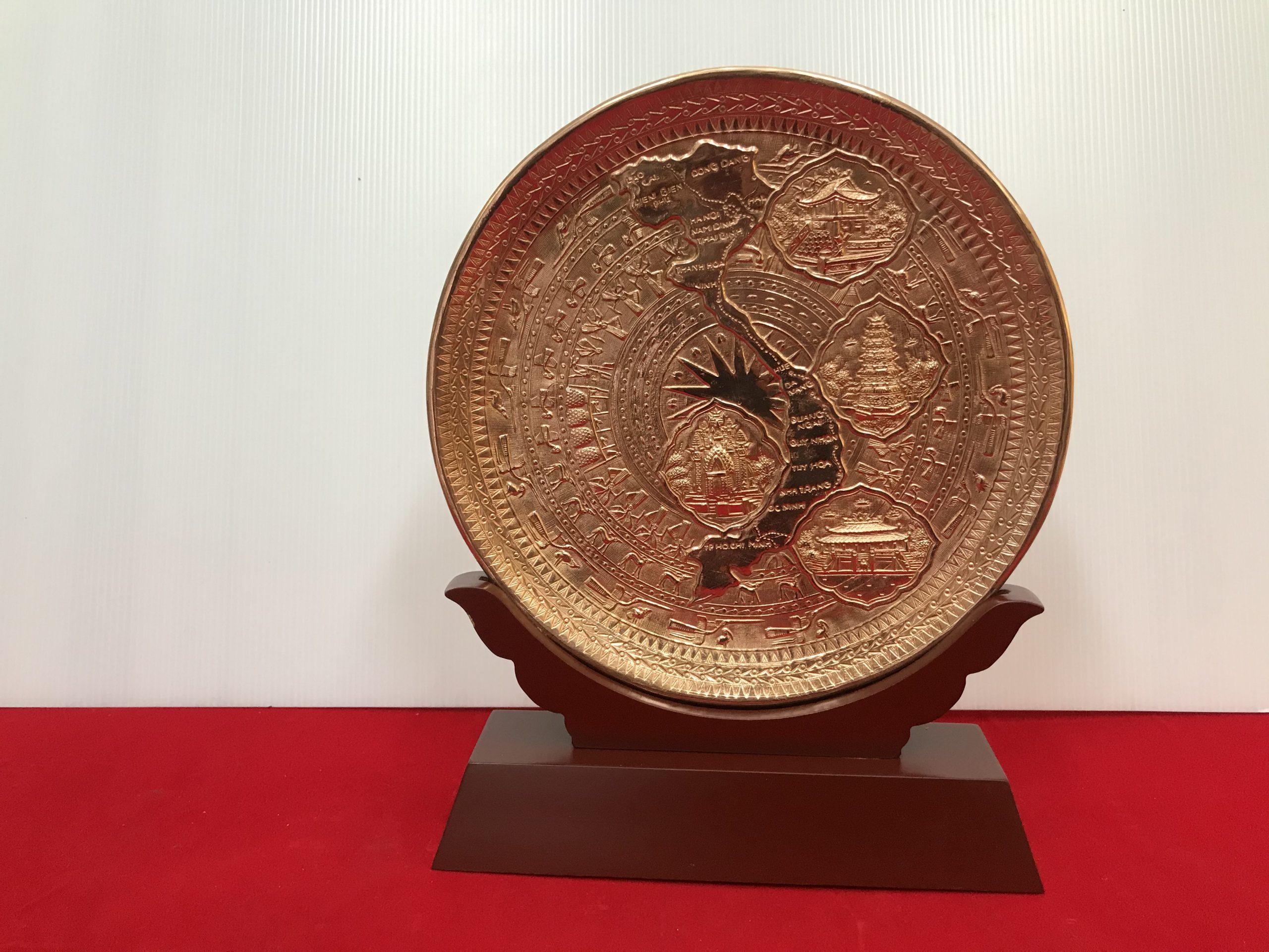 Đĩa đồng đỏ bản đồ Việt Nam 23cm0