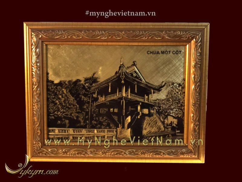 Tranh quà tặng chùa một cột khắc cnc 20 x 30cm0