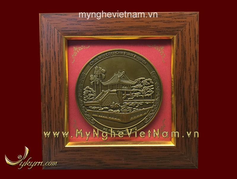 Tranh quà tặng mặt chùa một cột 15 x15 cm0